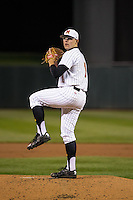 Mike Shawaryn (18) of the Maryland Terrapins pitches during a 2015 Big Ten Conference Tournament game between the Maryland Terrapins and Michigan State Spartans at Target Field on May 20, 2015 in Minneapolis, Minnesota. (Brace Hemmelgarn/Four Seam Images)