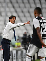 Calcio, Serie A: Juventus - Lazio, Allianz Stadium, July 20, 2020.<br /> Lazio's coach Simone Inzaghi gestures during the Italian Serie A football match between Juventus and Lazio at the Allianz stadium in Turin, July 20, 2020.<br /> UPDATE IMAGES PRESS/Isabella Bonotto