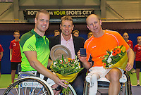 December 21, 2014, Rotterdam, Topsport Centrum, Lotto NK Tennis, Final wheelchair Men's, Maikel Scheffers (L) winner and  Ronald Vink runner up, in the middle technical director of the KNLTB Jan Siemerink<br /> Photo: Tennisimages/Henk Koster
