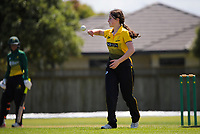 Kate Chandler prepares to bowl during the women's Hallyburton Johnstone Shield one-day cricket match between the Wellington Blaze and Central Hinds at Donnelly Park in Levin, New Zealand on Sunday, 6 December 2020. Photo: Dave Lintott / lintottphoto.co.nz