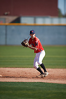 David Stirpe (5) of Hilton High School in Rochester, New York during the Baseball Factory All-America Pre-Season Tournament, powered by Under Armour, on January 13, 2018 at Sloan Park Complex in Mesa, Arizona.  (Mike Janes/Four Seam Images)