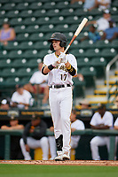 Bradenton Marauders Hudson Head (17) bats during Game One of the Low-A Southeast Championship Series against the Tampa Tarpons on September 21, 2021 at LECOM Park in Bradenton, Florida.  (Mike Janes/Four Seam Images)