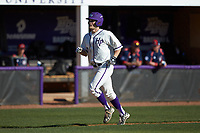 Carson Jackson (10) of the High Point Panthers jogs towards home plate after hitting a home run against the NJIT Highlanders at Williard Stadium on February 19, 2017 in High Point, North Carolina. The Panthers defeated the Highlanders 6-5. (Brian Westerholt/Four Seam Images)