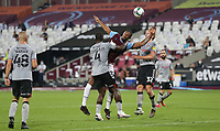 West Ham United's Sebastien Haller is challenged by Charlton Athletic's Adedeji Oshilaja<br /> <br /> Photographer Rob Newell/CameraSport<br /> <br /> Carabao Cup Second Round Northern Section - West Ham United v Charlton Athletic - Tuesday 15th September 2020 - London Stadium - London <br />  <br /> World Copyright © 2020 CameraSport. All rights reserved. 43 Linden Ave. Countesthorpe. Leicester. England. LE8 5PG - Tel: +44 (0) 116 277 4147 - admin@camerasport.com - www.camerasport.com