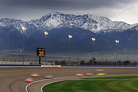 Feb 22, 2009; Fontana, CA, USA; NASCAR Sprint Cup Series drivers race through turn four during the Auto Club 500 at Auto Club Speedway. Mandatory Credit: Mark J. Rebilas-
