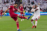 Boualem Khoukhi of Qatar (L) fights for the ball with Ismail Salem Alhammadi of United Arab Emirates (R) during the AFC Asian Cup UAE 2019 Semi Finals match between Qatar (QAT) and United Arab Emirates (UAE) at Mohammed Bin Zaied Stadium  on 29 January 2019 in Abu Dhabi, United Arab Emirates. Photo by Marcio Rodrigo Machado / Power Sport Images