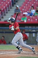 Jose Queliz #10 of the Visalia Rawhide bats against the High Desert Mavericks at Heritage Field on July 19, 2014 in Adelanto, California. Visalia defeated High Desert, 10-9. (Larry Goren/Four Seam Images)