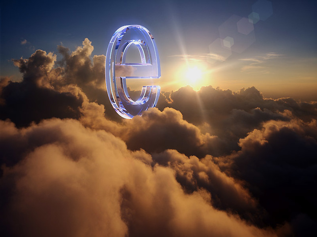 Glass Ecommerce Symbol floating above clouds