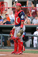 August 1, 2009:  Catcher Orlando Guevara of the Reading Phillies during a game at Jerry Uht Park in Erie, PA.  Reading is the Eastern League Double-A affiliate of the Philadelphia Phillies.  Photo By Mike Janes/Four Seam Images