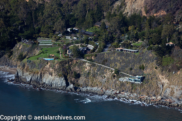 aerial photograph of  Esalen Institute, Big Sur, Monterey County, California