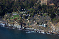 aerial photograph of  Esalen Institute, Big Sur, Monterey County, California