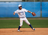 IMG Academy Ascenders Blue second baseman Gaku Takahashi (2) throws to first base during a game against the Carrollwood Day Patriots on February 20, 2021 at IMG Academy in Bradenton, Florida.  (Mike Janes/Four Seam Images)