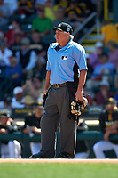 Umpire Tom Hallion during a Pittsburgh Pirates Spring Training game against the Boston Red Sox on March 9, 2016 at McKechnie Field in Bradenton, Florida.  Boston defeated Pittsburgh 6-2.  (Mike Janes/Four Seam Images)