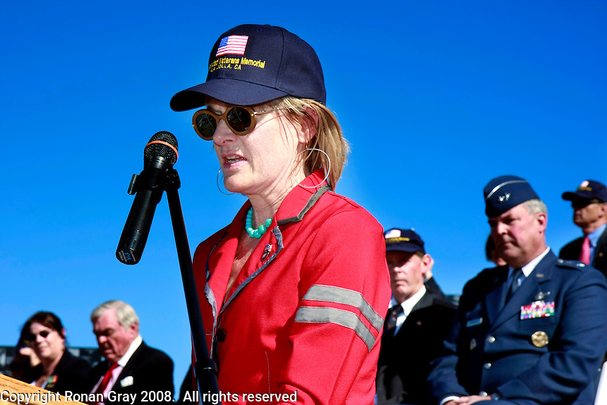 Saturday, November 8, 2008, Mt. Soledad Veterans Memorial La Jolla California.  Kelly Stewart Harcourt, daughter of acclaimed Hollywood actor Jimmy Stewart speaks at the La Jolla Veteran's memorial.  Brigadier General James Maitland Stewart, United States Air Force, a highly decorated WWII pilot was honored with a special plaque during at a dedication ceremony attended by his daughter and other family members.  Stewart, who would have been 100 years old this year was better known to most of the world as a highly acclaimed Hollywood actor.