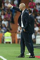 Real Madrid's coach Zinedine Zidane during the XXXVII Bernabeu trophy between Real Madrid and Stade de Reims at the Santiago Bernabeu Stadium. August 15, 2016. (ALTERPHOTOS/Rodrigo Jimenez) /NORTEPHOTO