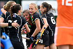 GER - Mannheim, Germany, May 25: During the U16 Girls match between The Netherlands (orange) and Germany (black) during the international witsun tournament on May 25, 2015 at Mannheimer HC in Mannheim, Germany. Final score 1-1 (1-0). (Photo by Dirk Markgraf / www.265-images.com) *** Local caption ***?Emma Boermans #21 of Germany, Sonja Zimmermann #13 of Germany, Emely Vysoudil #10 of Germany, Clara Roth #6 of Germany