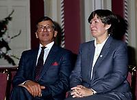 FILE PHOTO - Gerard D Levesque et Lise bacon lors de l' assermentation du cabinet Bourassa devant le lieutenant-gouverneur Gilles Lamontagne, le 12 decembre 1985<br /> , <br /> PHOTO :   Agence quebec Presse
