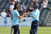 Shane Snater (L) and Aron Nijjar of Essex during Gloucestershire vs Essex Eagles, Royal London One-Day Cup Cricket at the Bristol County Ground on 3rd August 2021