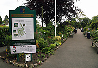 Pictured: The gardens sign. Friday 07 July 2017<br /> Re: Botanical Gardens in Singleton Park, Swansea, Wales, UK.