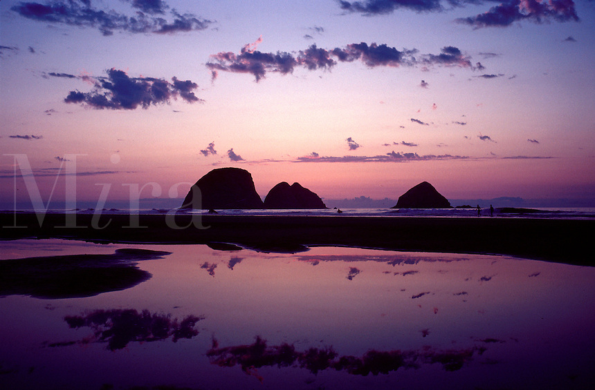Scenic sunset view of reflecting pools of water and coastline in evening twilight, with rocks in silhouette, seascape. Three Arch Rocks. Oceanside Oregon, Oregon Coast.