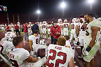 LOS ANGELES, CA - SEPTEMBER 11: Eric Sanders of the Stanford Cardinal talks with the inside linebackers during a game between University of Southern California and Stanford Football at Los Angeles Memorial Coliseum on September 11, 2021 in Los Angeles, California.