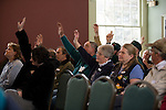 Voters in Jamaica Vermont follows the progress of voting on town issues at the town meeting on March 4 2008 Both national primary's and local elections.were held in the Jamaica town hall.