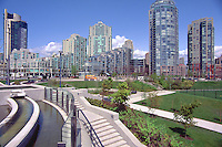 Vancouver, BC, British Columbia, Canada - High Rise Apartment and Condominium Buildings overlooking David Lam Park in Yaletown District, Downtown City, Summer