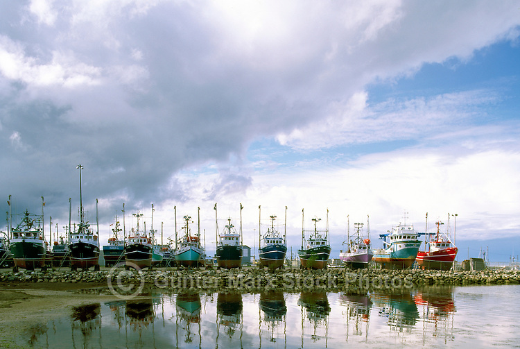 Shippagan, NB, New Brunswick, Canada - Commercial Fishing Boats at Dry Dock Storage in Harbour