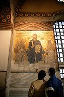 Byzantine mosaic at the Hagia Sophia, Istanbul, Turkey