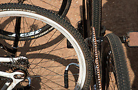 13 SEP 2014 - IPSWICH, GBR - Bikes stand ready during the 2014 British Open Club Cycle Speedway Championships at Whitton Sports & Community Centre in Ipswich, Great Britain (PHOTO COPYRIGHT © 2014 NIGEL FARROW, ALL RIGHTS RESERVED)