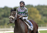 Concealed Identity, a son of Smarty Jones, and jockey Sheldon Russell are splattered with mud after finishing seventh in the 2nd running of the Smarty Jones Stakes at Parx Racing in Bensalem, PA, on September 5, 2011.  (Joan Fairman Kanes/Eclipsesportswire)