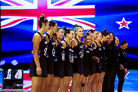 National anthems  during the Constellation Cup international netball series match between New Zealand Silver Ferns and Australian Diamonds at Christchurch Arena in Christchurch, New Zealand on Tuesday, 2 March 2021. Photo: Martin Hunter / lintottphoto.co.nz