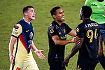 Federico Vinas of Club America (MEX) argues with Jesus Murillo #94 of Los Angeles FC (USA) during their CONCACAF Champions League Semi Finals match at the Orlando's Exploria Stadium on 19 December 2020, in Florida, USA. Photo by Victor Fraile / Power Sport Images