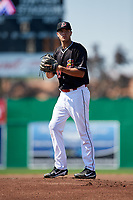 Batavia Muckdogs starting pitcher Chris Vallimont (32) gets ready to deliver a warmup pitch during a game against the West Virginia Black Bears on July 1, 2018 at Dwyer Stadium in Batavia, New York.  Batavia defeated West Virginia 8-4.  (Mike Janes/Four Seam Images)
