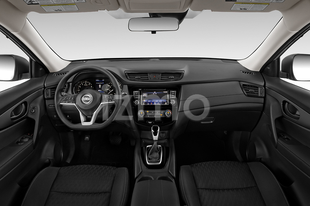 Stock photo of straight dashboard view of 2020 Nissan Rogue S 5 Door SUV Dashboard