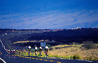 A row of bicyclists line the highway in the annual Ironman Triatholon on the Big Island of Hawaii.