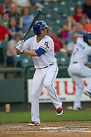Round Rock Express second baseman Ryan Strausborger #6 at bat during the Pacific Coast League baseball game against the Memphis Redbirds on April 24, 2014 at the Dell Diamond in Round Rock, Texas. The Express defeated the Redbirds 6-2. (Andrew Woolley/Four Seam Images)