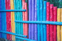 Colorful fence near Santa Fe, New Mexico