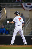 Cody Daily (31) of the Kannapolis Intimidators at bat against the Hickory Crawdads at Kannapolis Intimidators Stadium on April 9, 2016 in Kannapolis, North Carolina.  The Crawdads defeated the Intimidators 6-1 in 10 innings.  (Brian Westerholt/Four Seam Images)