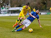 18th April 2021; Stair Park, Stranraer, Dumfries, Scotland; Scottish Cup Football, Stranraer versus Hibernian; Ayrton Sonkur of Stranraer slides in and fouls Martin Boyle of Hibernian