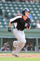 Catcher David Lyon (36) of the Hickory Crawdads in a game against the Greenville Drive on Friday, June 7, 2013, at Fluor Field at the West End in Greenville, South Carolina. Greenville won the resumption of this May 22 suspended game, 17-8. (Tom Priddy/Four Seam Images)