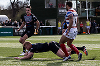 Daniel Harrison of the London Broncos scores during the Kingstone Press Championship match between London Broncos and Rochdale Hornets at Castle Bar , West Ealing , England  on 26 March 2017. Photo by Steve Ball / PRiME Media Images.