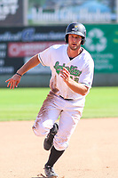 Clinton LumberKings outfielder Keegan McGovern (12) races to third base during a Midwest League game against the Lansing Lugnuts on July 15, 2018 at Ashford University Field in Clinton, Iowa. Clinton defeated Lansing 6-2. (Brad Krause/Four Seam Images)