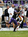TCU Horned Frogs wide receiver Josh Boyce (82) and Iowa State Cyclones defensive back Jeremy Reeves (5) in action during the game between the Iowa State Cyclones and the TCU Horned Frogs  at the Amon G. Carter Stadium in Fort Worth, Texas. Iowa State defeats TCU 37 to 23....