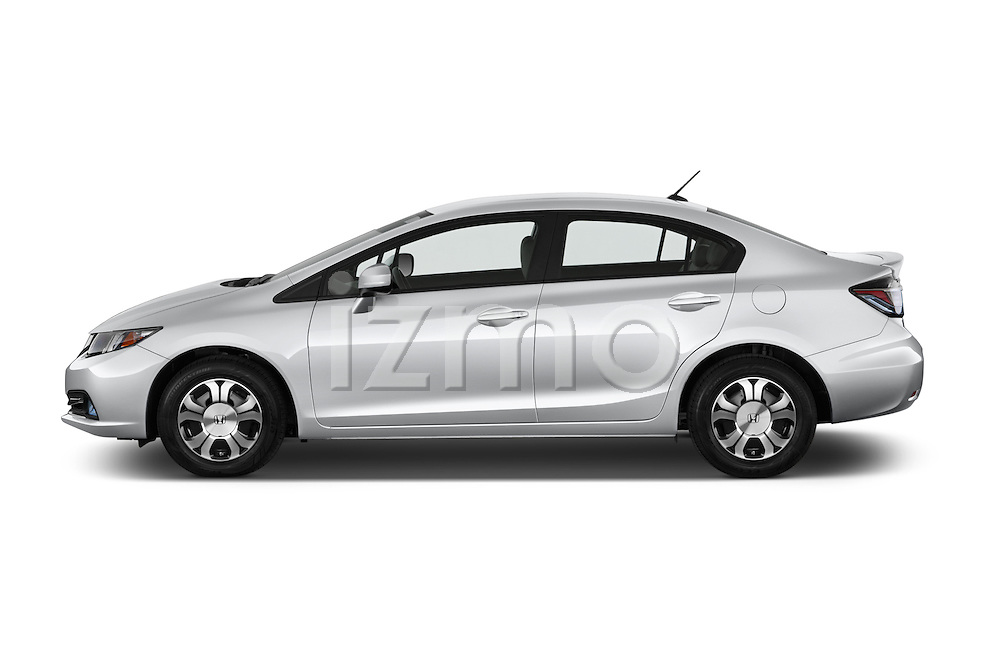 Car Driver side profile view of a 2014 Honda Civic Hybrid Hybrid CVT 4 Door Sedan Side View