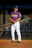 Charlotte Stone Crabs relief pitcher Roel Ramirez (27) gets ready to deliver a pitch during a game against the Palm Beach Cardinals on April 21, 2018 at Charlotte Sports Park in Port Charlotte, Florida.  Charlotte defeated Palm Beach 5-2.  (Mike Janes/Four Seam Images)