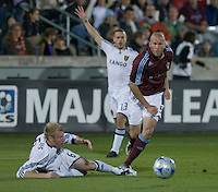 Colorado's Conor Casey (red) chases down a ball. Real Salt Lake earned a tied versus the Colorado Rapids securing a place in the postseason. Dick's Sporting Goods Park, Denver, Colorado, October, 25, 2008. Photo by Trent Davol/isiphotos.com