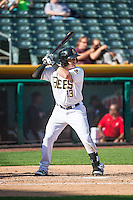 Daniel Robertson (13) of the Salt Lake Bees at bat against the Albuquerque Isotopes in Pacific Coast League action at Smith's Ballpark on June 8, 2015 in Salt Lake City, Utah.  (Stephen Smith/Four Seam Images)