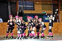 Action from the Roller Derby - Bay City Rollers v RCRD All Stars at Kilbirnie Rec Centre, Kilbirnie, Wellington, New Zealand on Saturday 29 November 2014.<br /> Photo by Masanori Udagawa. <br /> www.photowellington.photoshelter.com.