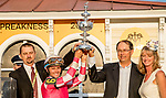 May 15, 2021 : Connections celebrate after Rombauer, #6, ridden by jockey Flavien Prat wins the Preakness Stakes on Preakness Stakes Day at Pimlico Race Track in Baltimore, Maryland on May 15, 2021. Alex Evers/Eclipse Sportswire/CSM